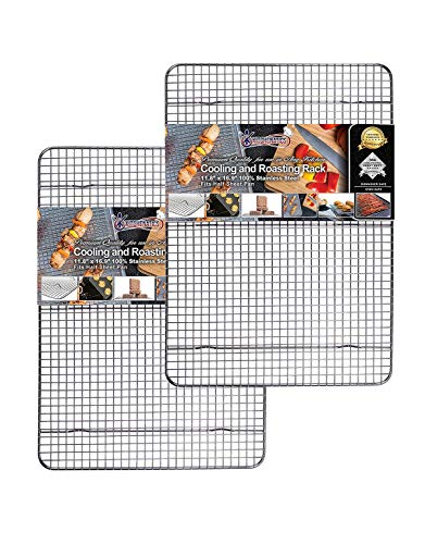 Cooling, Roasting & Baking Racks fit Standard Half Sheet Pans - Heavy Duty 304 Stainless Steel Wire Racks Dishwasher & Oven-Safe for Cooking, Smoking, Grilling - Rust Proof (11.8