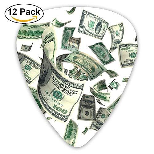 HOOAL Black Large rican Dollar Sign Jazz Guitar Picks 0.46mm 0.71mm 0.96mm Girls 12 Packs For Guitarist Musicians Best -