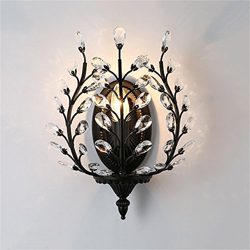 European Luxury Olive Branch Carved Iron Crystal Wall Lamp American Country Living Room Bedroom Bedside Aisle Creative Retro E14 Wall Light (Black / Bronze) ( Color : Black ) by WEID Light (Image #5)
