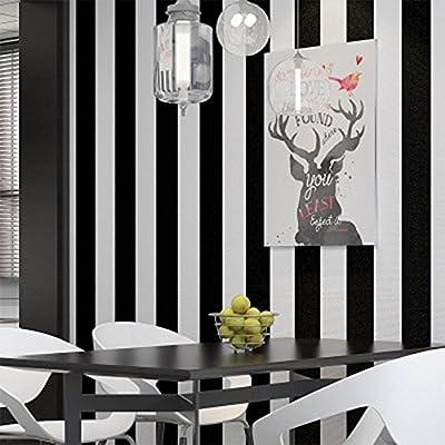 Noir Et Blanc Rayures Papier Peint Intissé Pour Salon, Chambre à Coucher,  Bureau, Magasin Restaurant Décor , Non Autocollant Papier Peint, 0.53 * 10 M