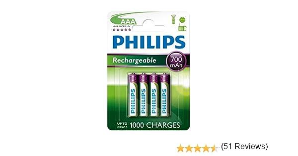 Philips - 4 pilas recargables (AAA, 700 mAh, para BT 1000, 1500, 2000, 2500, 4000 y 4500): Amazon.es: Electrónica
