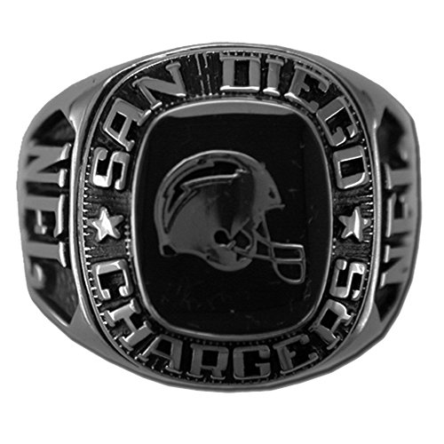 NFL San Diego Chargers Large Classic Ring, Size 9 Silvertone
