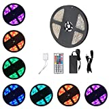 Urlitoy LED Strip Lights 16.4ft/5m 150 Units SMD 5050 LEDs Waterproof Flexible Strip Light RGB Color Changing 44 Key Remote Controller 12V DC Adapter for DIY Home Kitchen Car Bar Party Decoration