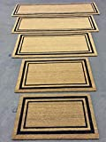 Kempf New Coco Coir Doormat, Black Double Picture Frame Border with Heavy Vinyl Backing, in Various Sizes.