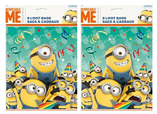 Despicable Me Minions Goodie Bags, 8 ct (2 Pack) for 16 Party Guests -