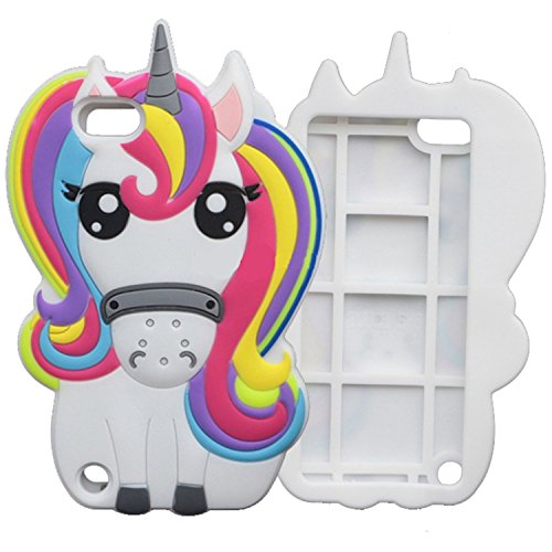 iPod touch 6th Generation Case, iPod Touch 5 Case , Mulafnxal Cute 3D Cartoon Unicorn Silicone Rubber Phone Case Cover for Apple iPod Touch 6th / 5th Generation (Colorful Unicorn) (Animal Touch 4 Ipod Cases)