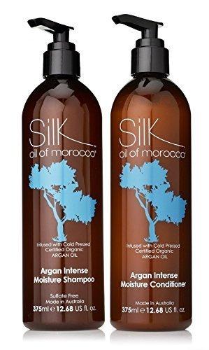 Seiden Öl von Marokko Intensive Feuchtigkeit Shampoo und intensive Feuchtigkeit Haarspülung Set 375ml jede Shampoo und Haarkur Sulfat Frei Schampoo,Argan Oil Haarspülung,Natur Haarspülung,Silikon frei
