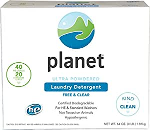 Planet Ultra Powdered He Laundry Detergent, Unscented, 64 Ounce (Pack of 4)
