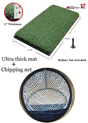 A99 Golf Ultra Thick Mat 13.25in X 24.625in Practice Mat +Chipping Net by A99 Golf