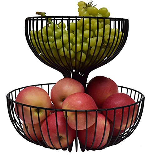 Comport Kitchen Fruit Storage Basket Large Capacity Living Room Fruit Bowl Wrought Iron Black (φ38cm /φ30cm)