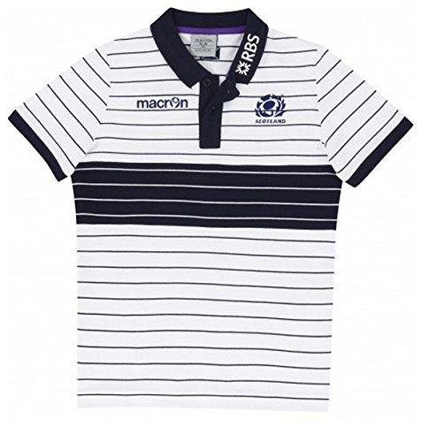 2014-2015 Scotland Cotton Striped Piquet Polo Shirt (White) Kids B01DSZIF8MWhite XL Boys