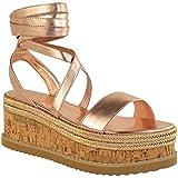 Womens Ladies Flatform Cork Espadrille Wedge Sandals Ankle Lace Up Shoes Size