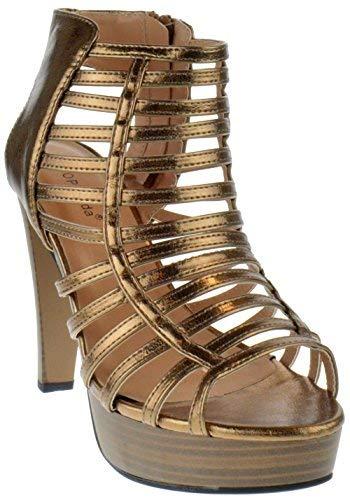 Top Moda Table 15 Peep Toe High Heel Caged Strappy Platform Sandals Bronze 5.5
