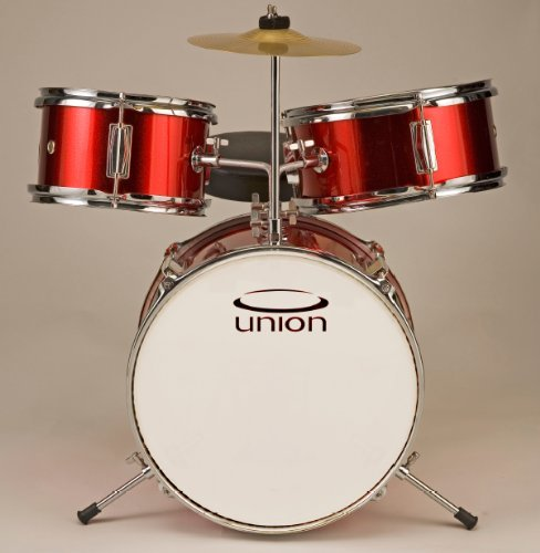 Union 3 pc. Junior Kids Drum Set UT3 *RED* Complete with Seat, Sticks, Pedal (for 3-5 yrs old)