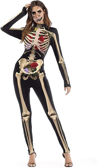 DPSLYXCD Disfraces Kcd Chica Mujer Traje De Piel De Esqueleto ...