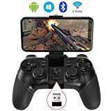 Auimi 2.4G Wireless Game Controller Bluetooth Gaming Gamepad Joystick for Android Phone/ PC Windows/ Tablet/ Smart TV/ TV Box/ PS3 - Android
