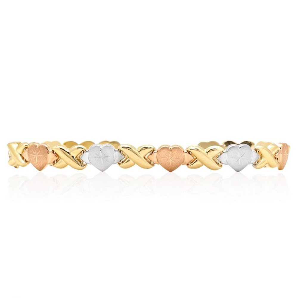 14k Tri-Color Yellow White Pink Gold X Hearts Hugs Kisses Bracelet 7.5''