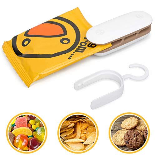 Mini Bag Sealer, Handheld 2 in 1 Heat Sealer and Cutter with Detachable Hook, Portable Sealer Machine for Plastic Bags Food Storage Snacks Freshness