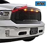 2015 ram grill - EAG Replacement Ram ABS Grille - Matte Black - With Amber LED Lights for 13-18 Dodge Ram 1500