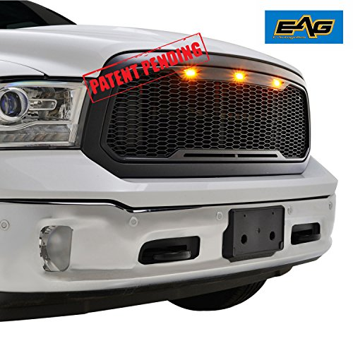 EAG Replacement Ram ABS Grille - Matte Black - With Amber LED Lights for 13-18 Dodge Ram 1500