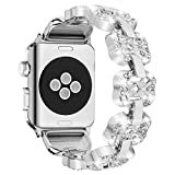 WEIJUN for Apple Watch Band, Elegant iWatch Band Replacement with Bling Durable Stainless Metal Adjustable Folding Clasp Link for Men Women Girls Females Sport Nike Hermes - Junwei 38mm 40mm Silver