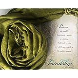 Smiling Wisdom - Olive Earth Green Pashmina Scarf - Reason Season Lifetime Friendship Greeting Card Gift Set - For Good Best Friend BFF - Pashmina & Silk - For Her, Ladies, Womens, Seniors - Green