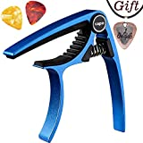 Capo,Guitar Capo for Acoustic and Electric Guitars, Zinc Alloy- Quick Change Guitar Capo (MS-20 Blue) & Free Pick and pick necklace