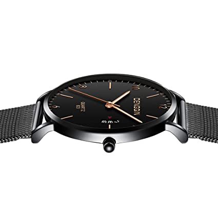 Amazon.com: Lmtime 2019 Ultra-Thin Man Business Wrist Watch with Calendar Teens Quartz Stainless Steel Strap Simple Dial Watch Date (Black - B): Health ...