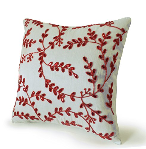 Amore Beaute Handcrafted Red Pillow Cover- Decorative Throw Pillow Cover in Art Silk Dupioni with Bead Sequin Detail - Leaves Pillow Cover - Gift - Red White Accent Pillow ()