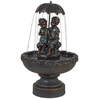 "Boy and Girl Under Umbrella 40"" High Indoor/Outdoor Fountain"