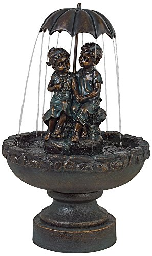 Boy and Girl Under Umbrella 40'' High Indoor/Outdoor Fountain by John Timberland