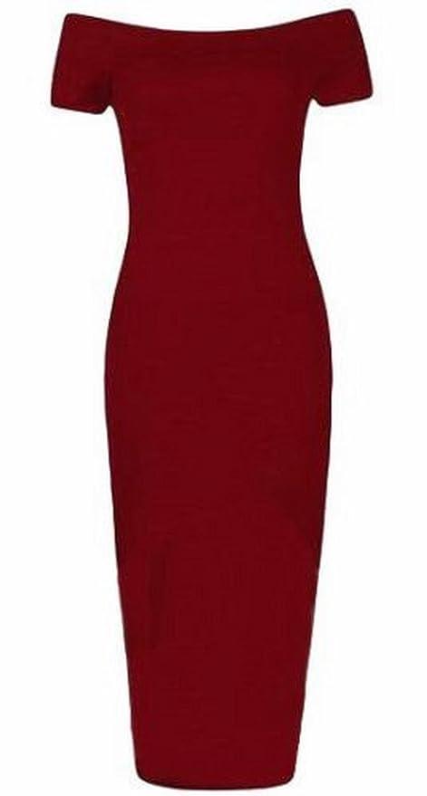 neuen Frauen plus size kurze Ärmel ab Schulter bodycon Midi-Kleid:  Amazon.de: Bekleidung