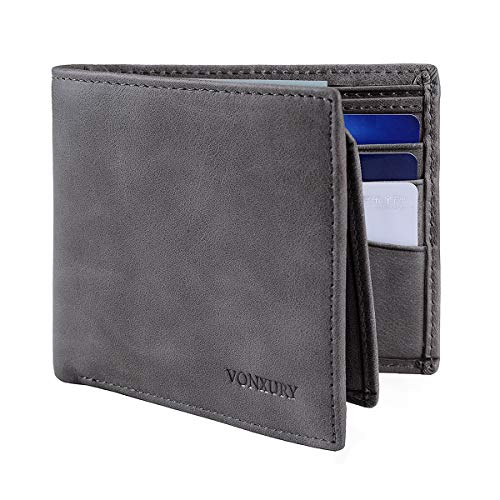 Premium Leather RFID Wallet for Men Bifold Soft Cowhide Leather Wallet with 8 Card Slots and 2 ID windows ()