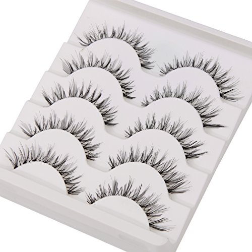 False Eyelashes,TianQin WY 5 Pairs Fake Eyelashes Handmade Messy Natural 3D Eye Lashes Cross Fashion Extension For Makeup (5 PairsBlack)