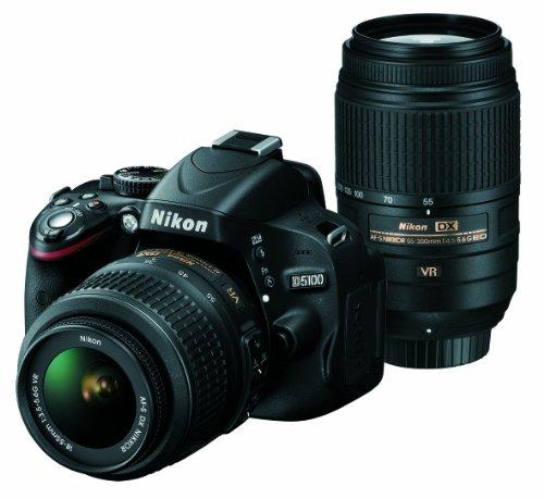 ニコン D5100 ブラック ダブルズームキット AFS DXニッコール1855mm f3.55.6G VR AFS DXニッコール55300mm f4.55.6G ED VRの商品画像