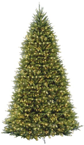 National Tree 12 Foot Dunhill Fir Tree with 1500 Clear Lights, Hinged (DUH-120LO-S) by National Tree Company