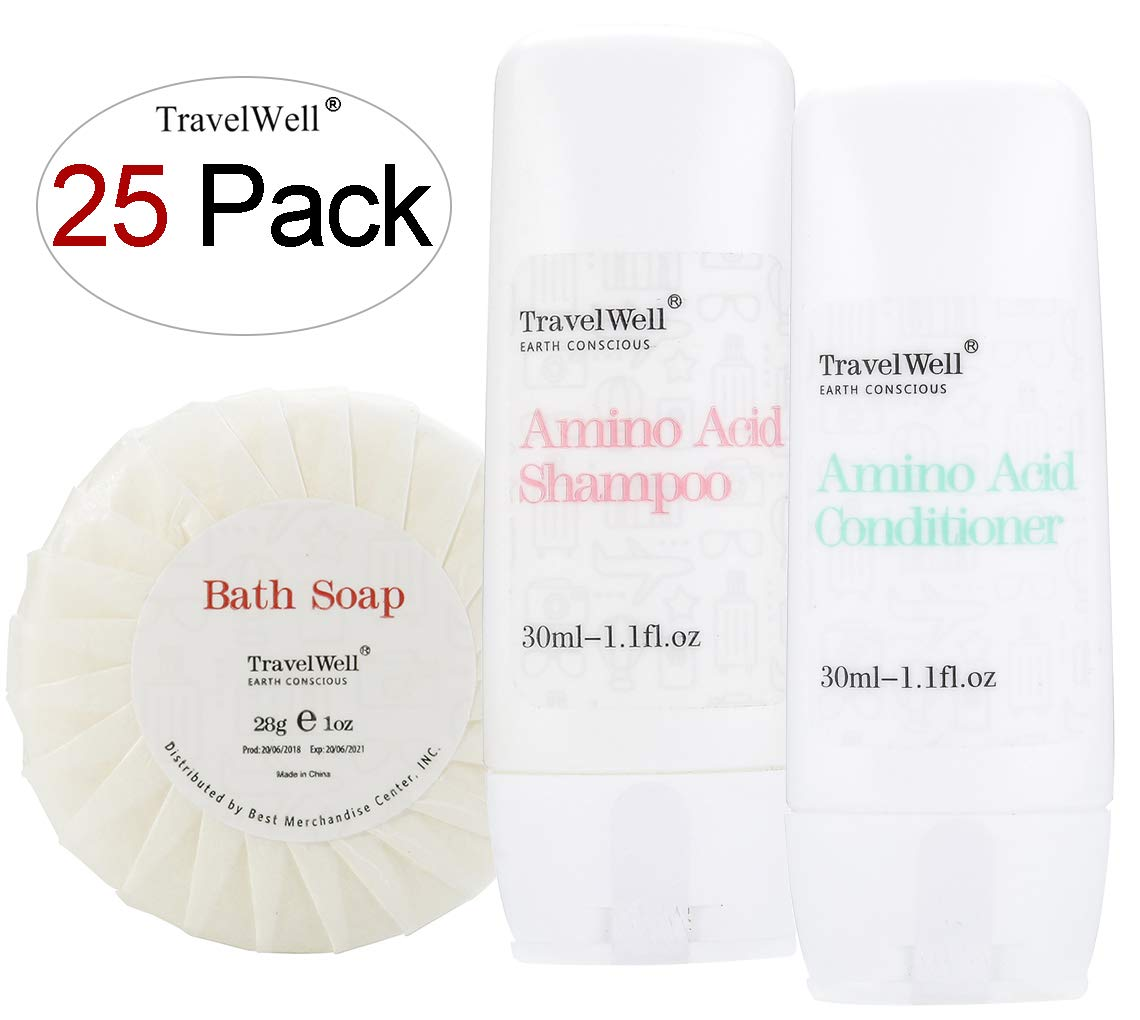 TRAVELWELL Individually Wrapped 30ml Shampoo 25 Bottles + Conditioner, 25 Bottles + Round Tissue Pleated 28g Cleaning Travel Soap In Bulk, 25 Bars by Travelwell