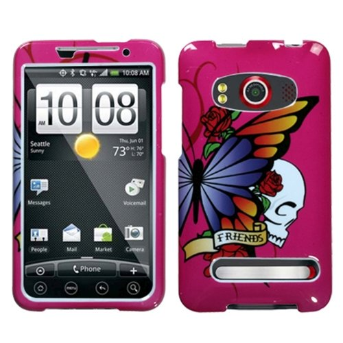se Phone Cover for HTC EVO 4G Sprint - Hot Pink Skull & Butterfly ()