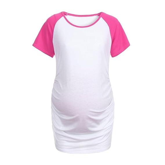 Zarupeng Maternidad para Mujer de Manga Corta con Empalme Tops Embarazo Ropa Camisa Blusa Superior