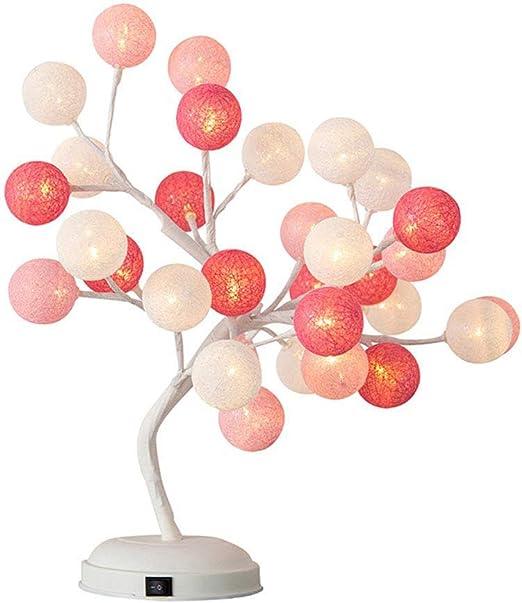 LEERAIN Lámpara Mesa Decorativa, Bola Algodón Luz del árbol, Luz ...