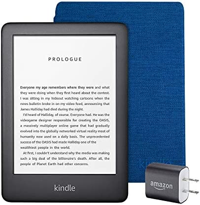 Kindle Essentials Bundle including All-new Kindle, now with a built-in front light, Black - with Special Offers, Kindle Fabric Cover – Cobalt Blue, and Power Adapter