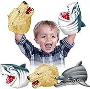 Geyiie Shark Hand Puppets, Kids Hand Puppets Toys Realistic Shark Dolphin Sea Bear Head Soft Rubber Latex Pupp