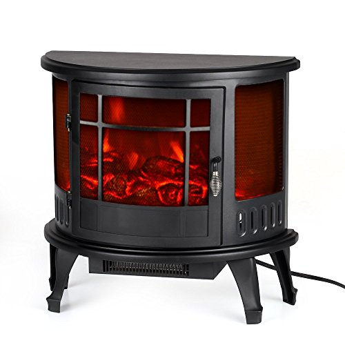 Electric Stove Fireplace Heater Free-Standing Fire Flame Adjustment Temperature Control, 23