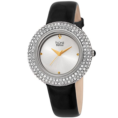 Burgi Women's Swarovski Crystal Watch - Diamond Accented Silver & Midnight Black Leather Strap Watch - BUR199SSBK -Great for Mother's ()