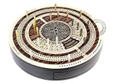 "House of Cribbage - 10"" Round Shape 4 Tracks Continuous Cribbage Board Rosewood / Maple - Push Drawer with Score marking fields for Skunks, Corners & Won Games"