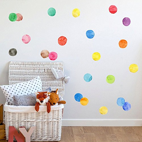 Room Seven Dot (LiveGallery Kids Room Wall art Decals Removable Vinyl Colorful Polka Dots Wall Stickers Dot Wall Decor for Girls Bedroom Living Room Classroom Babys Nursery Home Walls 27PCS 2.75 Inch)