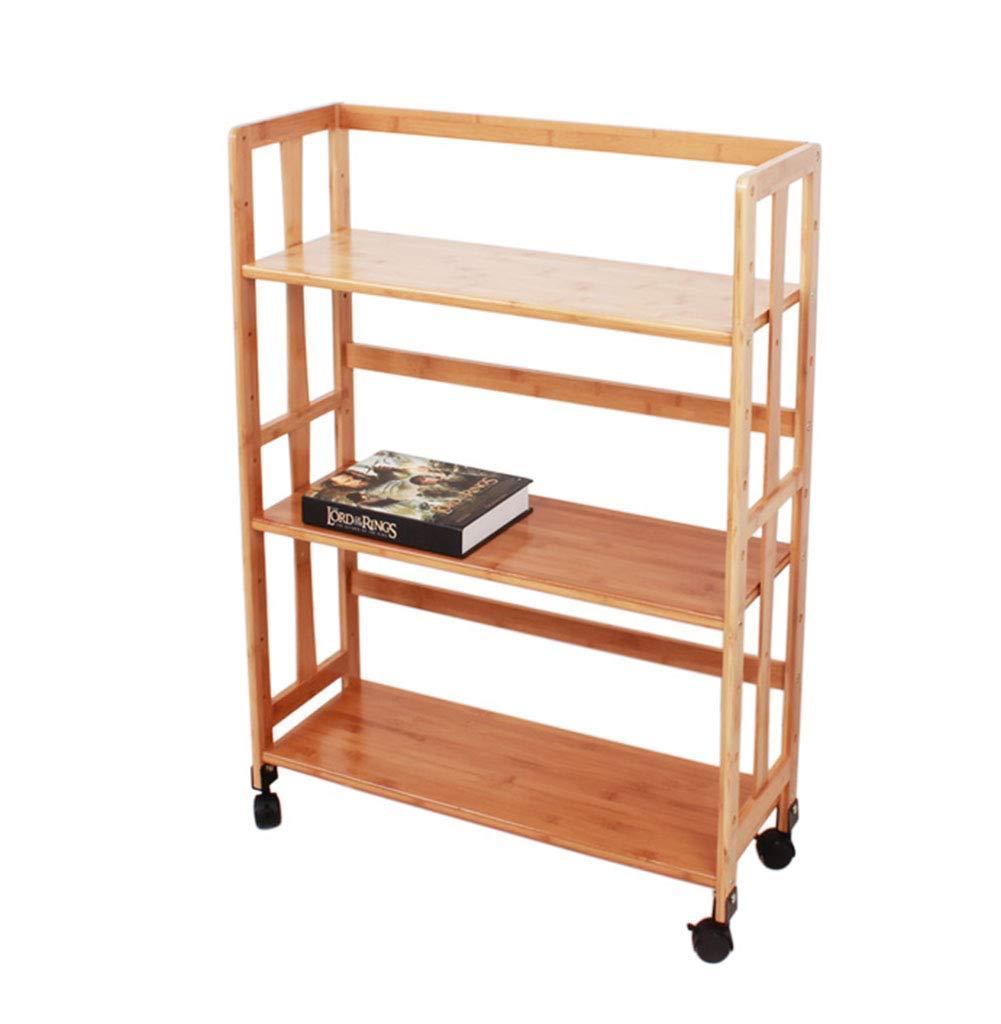 70 x 26 x 95cm QIANGDA Bookshelf Bookcase Floor-Standing Bamboo Organizer Divider Shelf Holder Rack with Wheels, 6 Sizes (Size   60 x 26 x 95cm)
