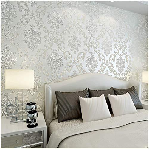 (QIHANG European Style Luxury 3D Damask Pearl Powder Non-Woven Wallpaper Roll Cream-White Color 0.53m x 10m=5.3㎡ )