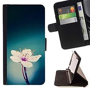 Momo Phone Case / Flip Funda de Cuero Case Cover - White Flower printemps rose - Apple Iphone 6