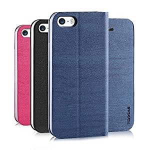 ZXC Wood Grain PU Leather Full Body Case with Strap and Flip-Open for iPhone 5/5S (Assorted Colors) , Blue